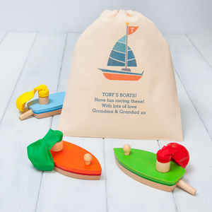Wooden Balloon Boat Toys With Personalised Gift Bag - traditional toys & games