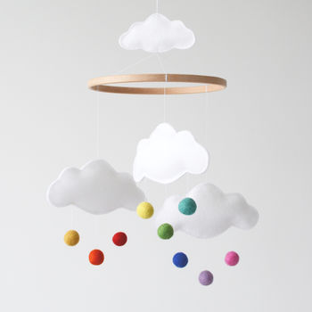 White Cloud And Rainbow Baby Mobile