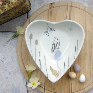 Bone China Hand Decorated Heart Trinket Dish - decorative accessories