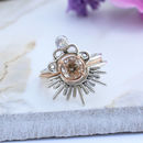 Eetu Sterling Silver Boho Moonstone Scalloped Ring