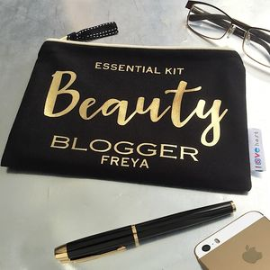 Personalised 'Golden' Font Luxury Flat Case - make-up bags