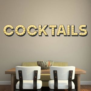 Cocktails Light Up Letters Effect Wall Sticker - decorative accessories