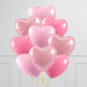Baby Pink Hearts Inflated Foil Balloon Bunch