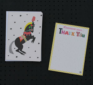 12 Childs Thank You Cards Circus Horse Design
