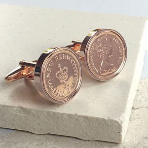 Halfpenny Coin Cufflinks 1971 To 1984 Inc. 40th - special work anniversary gifts