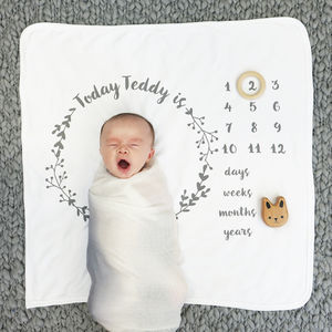 Personalised Baby Age Botanical Blanket Set - sleeping