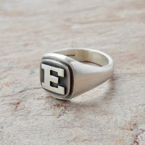 Personalised Initial Silver College Ring