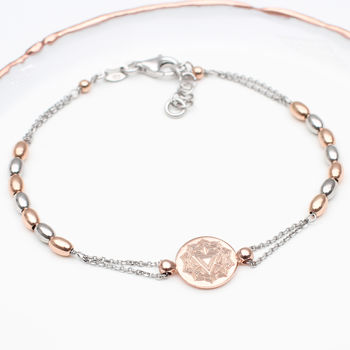 Personalised 18ct Rose Gold And Silver Chakra Bracelet