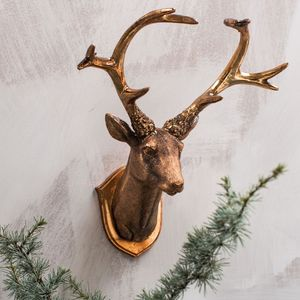 Burnished Copper Wall Hung Deer Head