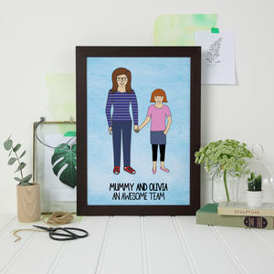 Mummy And Daughter Digital Portrait Print