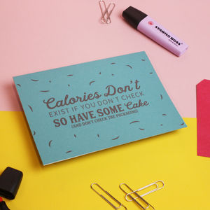 'Calories' Funny Greetings Card For Her - summer sale
