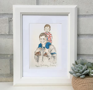 'Daddy & Me' Hand Drawn Illustration - baby's room