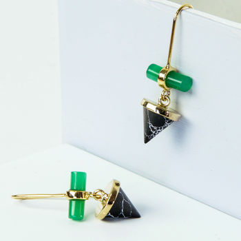Green Glass And Black Marble Drop Earrings