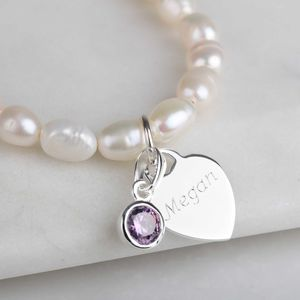 Personalised Children's Pearl Birthstone Bracelet - bracelets