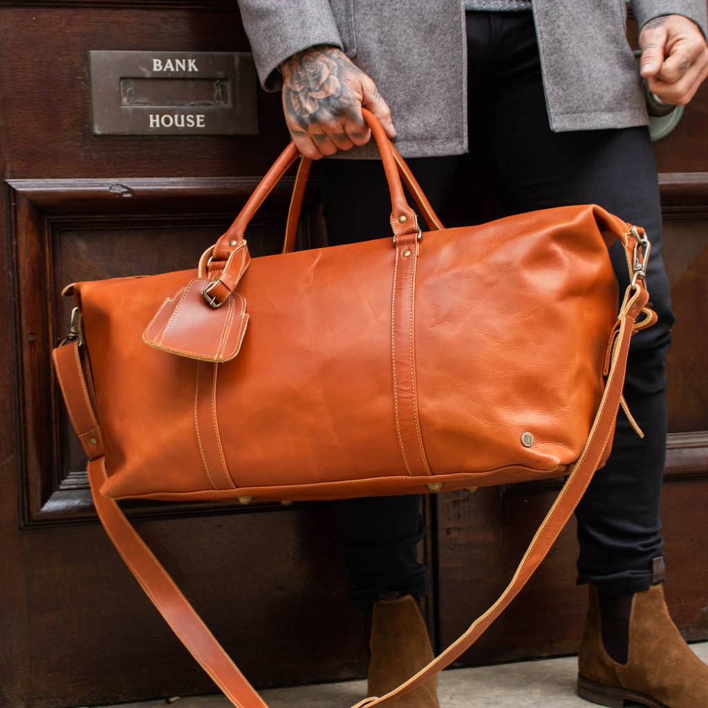 Personalised Buffalo Leather Armada Duffle In Tan