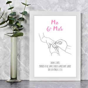 With This Ring Personalised Wedding Print - posters & prints