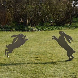 Boxing Hares Metal Sculpture - sculptures