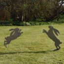 Boxing Hares Metal Sculpture