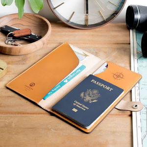 Personalised Leather Travel Wallet - sun appreciation society