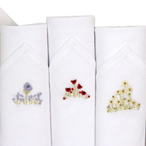 Box Of Three Embroidered Flowers Hankies