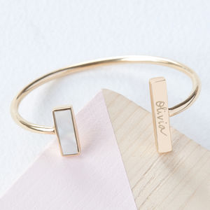 Personalised Asymmetrical Gemstone Cuff - gifts for her