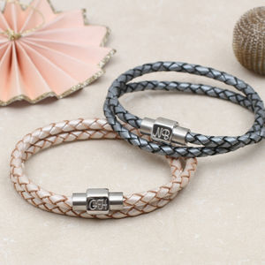 Personalised Double Leather Wrap Bracelet
