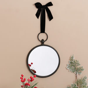 Traditional Antique Small Hanging Black Round Mirror