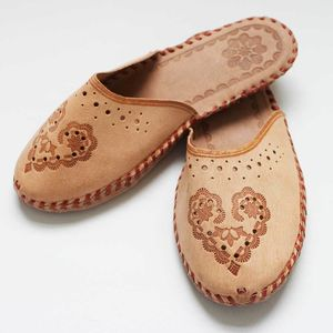 Ladies Leather Bohemian Closed Toe Slippers