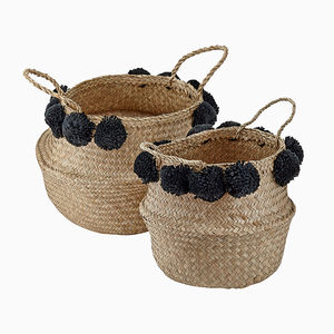 Natural Seagrass Basket With Black Pom Poms - baskets