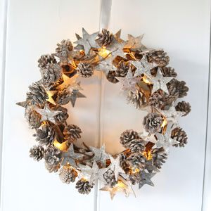 Frosted Pinecone And Birch Star Wreath With Lights - wreaths
