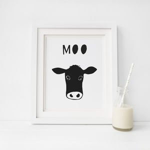 Peekaboo Cow, Cows Say Moo Print - animals & wildlife