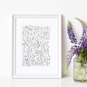 Flower Garden Illustration Art Print - posters & prints