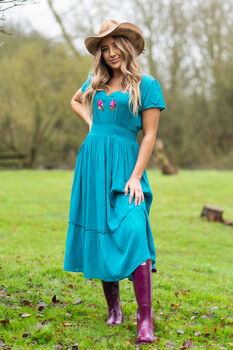 Molly Tier Dress Deep Turquoise
