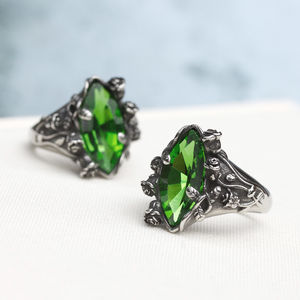 Dark Rose Green Swarovski Crystal Ring - rings