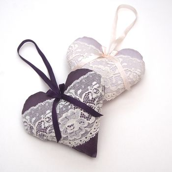 Lavender Silk And Vintage Lace Hanging Hearts