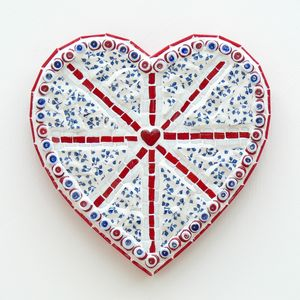 China Union Jack Heart Mosaic Wall Art - ornaments