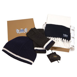 Cashmere Football Gift Sets In Navy And White
