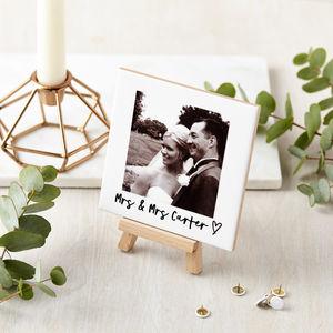 Personalised Ceramic Wedding Photo And Mini Easel - people & portraits
