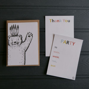 Bear Party Invitations And Thank You Cards