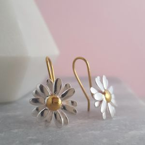 Two Tone Sterling Silver Large Daisy Drop Earrings