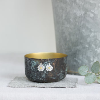 Large Daisy Earrings In Silver And 18ct Gold