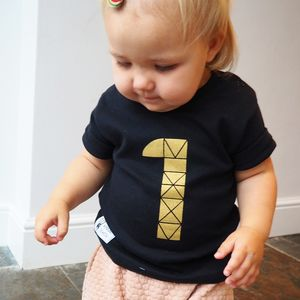 Kids Birthday Number Short Sleeve Black T Shirt - clothing