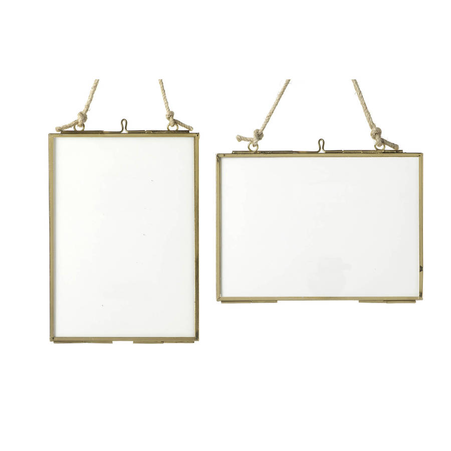 medium brass glass hanging frame