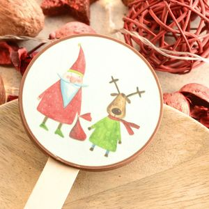 Santa And Reindeer Picture Chocolate Lollipop - novelty chocolates