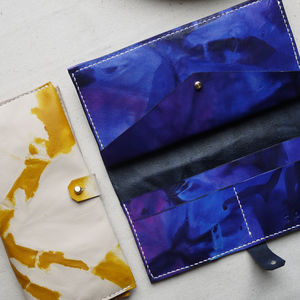 Tie Dye Leather Bi Fold Purse - purses