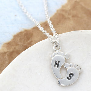 New Mum Foot Print Personalised Necklace - 1st mother's day