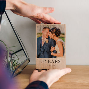 Personalised Fifth Wedding Anniversary Wood Photo Block