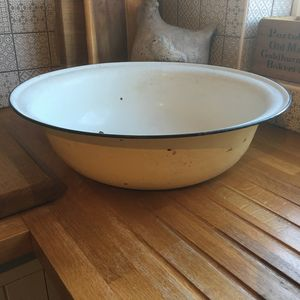 Vintage Giant Enamel Bowl - kitchen