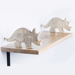 Children's Room Oak Shelves With Dinosaur 'Book' Ends