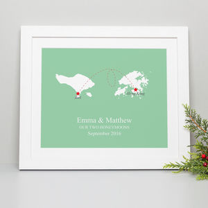'Home And Abroad' Personalised Print - gifts for her